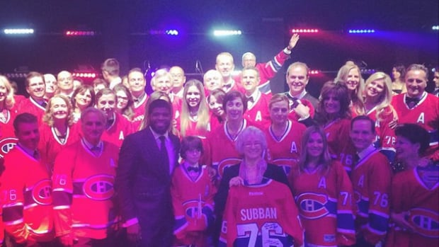 P.K. Subban poses with donors at a charity event for the Montreal Children's hospital foundation.