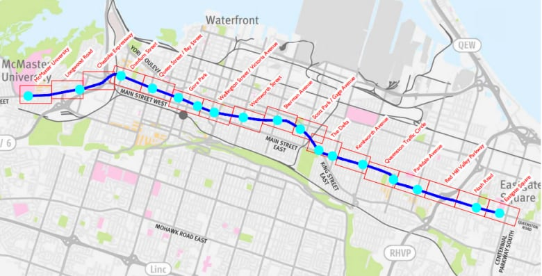 Hamilton Lrt Map Take a ride on Hamilton's proposed LRT route | CBC News
