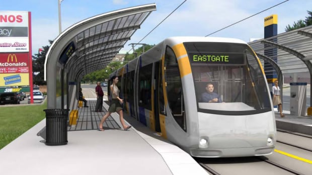 A rendering shows what an LRT stop could look like on King Street W. and Dundurn St.