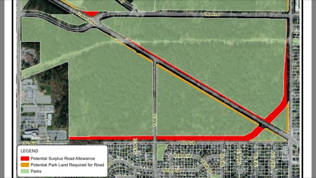 An overhead view of the city's plan to widen Fraser Highway.