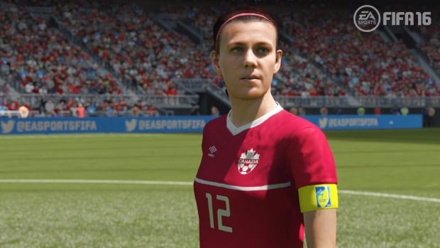 "Christine Sinclair appears in ""FIFA 16"" from EA Sports in this undated screen image. Canadian captain Christine Sinclair is finally in the game. EA Sports says ""FIFA 16,"" the new version of its soccer video game, will feature 12 women's national teams for the first time in the 22-year history of the franchise."