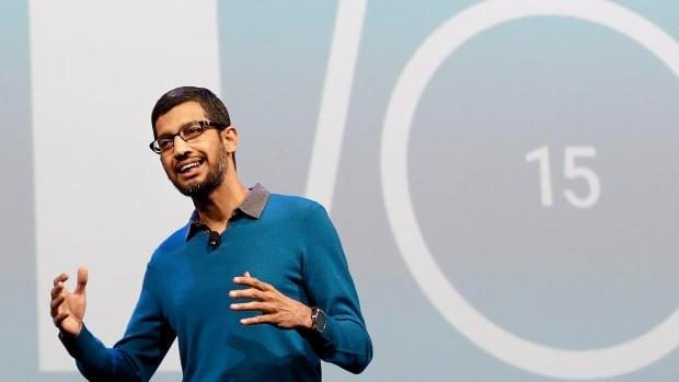 Sundar Pichai, senior vice-president of Android, Chrome and Apps, speaks during the Google I/O 2015 keynote presentation in San Francisco, Calif.
