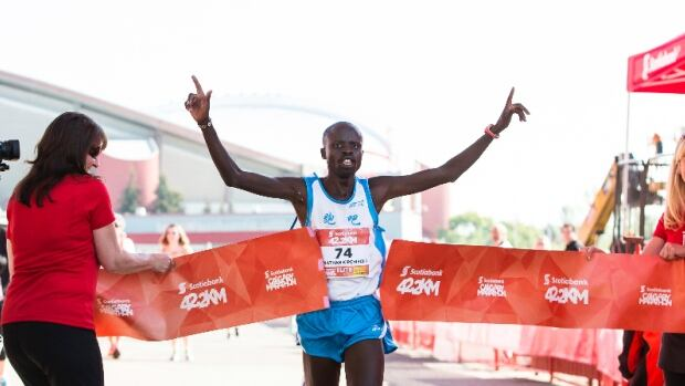 Jonathan Kipchirchir Chesoo became the record-breaking winner of the men's full marathon during the Scotiabank Calgary Marathon.
