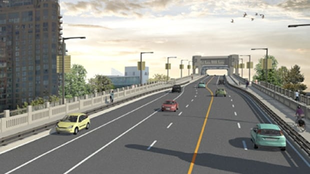 An artist rendering shows potential changes to the north end of the Burrard Bridge to be considered by Vancouver City Council.