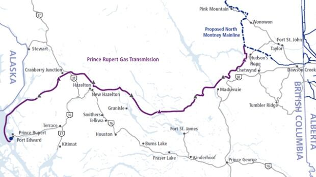 A 900-kilometre pipeline from Hudson's Hope would carry natural gas from northeastern B.C. wells to the proposed Pacific NorthWest LNG facility on Lelu Island, near Prince Rupert, for liquification and transport on tankers to Asia.