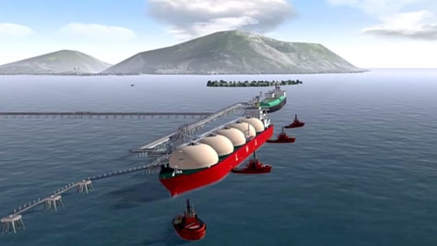 An image from a promotional video shows an LNG tanker filling up at the proposed Pacific Northwest LNG facility near Prince Rupert, B.C.  There is still no final investment decision on the $36 billion project.