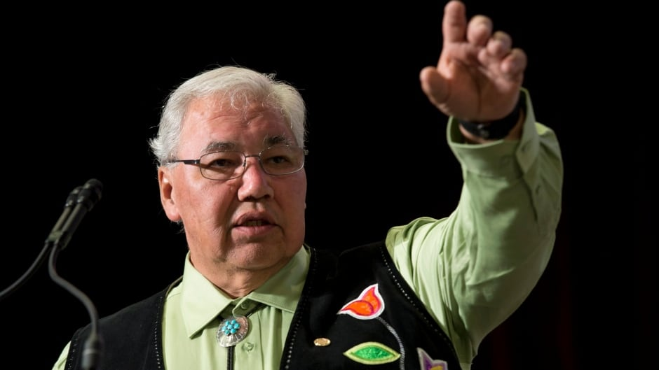 Truth and Reconciliation Commission Chair Justice Murray Sinclair speaks during the Grand entry ceremony during the second day of closing events for the Truth and Reconciliation Commission in Ottawa, June 1, 2015.