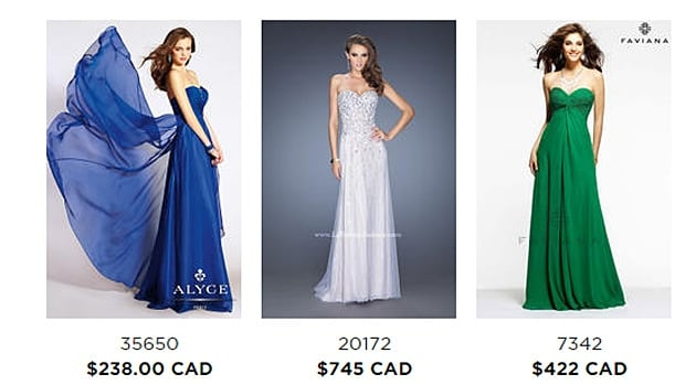 The most popular prom dresses on the After 5 website range in price from $994 to $322.