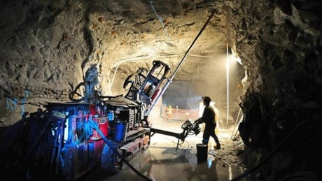 Drilling production stope at Cantung Mine