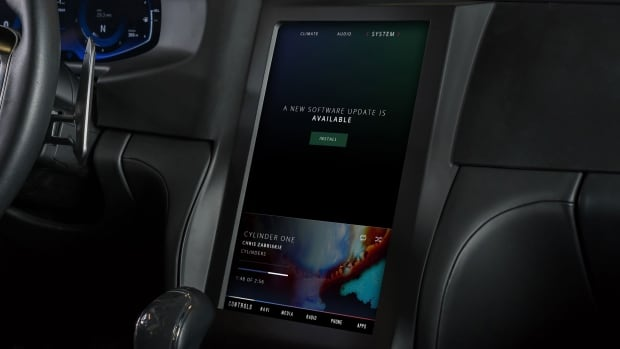 BlackBerry is relying on its secure network to send over the air updates wireless to your car's software. This photo is an example of what you could see in a car soon. The car itself is a QNX concept car, based on a Maserti Quattroporte.