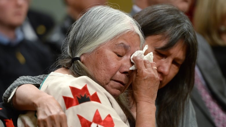 High School Essay Example A Fellow Residential School Survivor Comforts Lorna Standingready During  The Closing Ceremony At Rideau Hall Sean Kilpatrickthe Canadian Press Health And Wellness Essay also High School Senior Essay Whats Next For Canadas First People  Michaels Essay  Cbc Radio Example Of An Essay With A Thesis Statement
