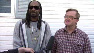 Snoop Dogg with his 'cousin' Bubbles on set Thursday.