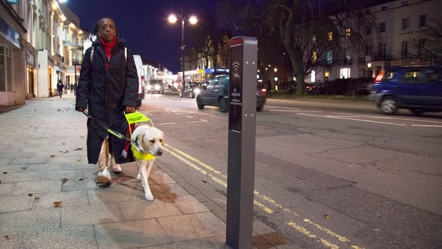 A responsive bollard designed by engineer Ross Atkin could provide audio information to a blind pedestrian passing by.