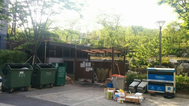 Garbage/recycling area in Seoul.