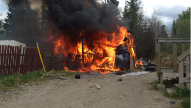 Chasity Spence saved four children from this burning shed on Nisichawayasihk Cree Nation on Saturday.
