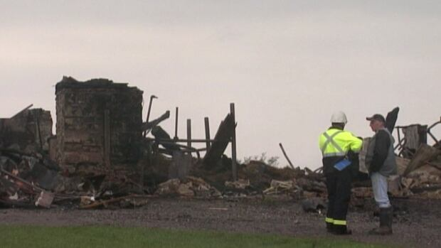 A barn was destroyed by fire Sunday near Gananoque, Ont. A teenager has since been charged with arson.