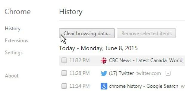 Chrome History screen