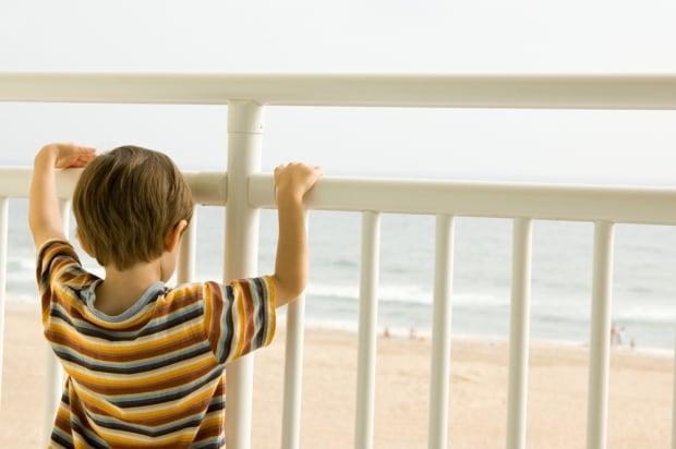 Child boy balcony