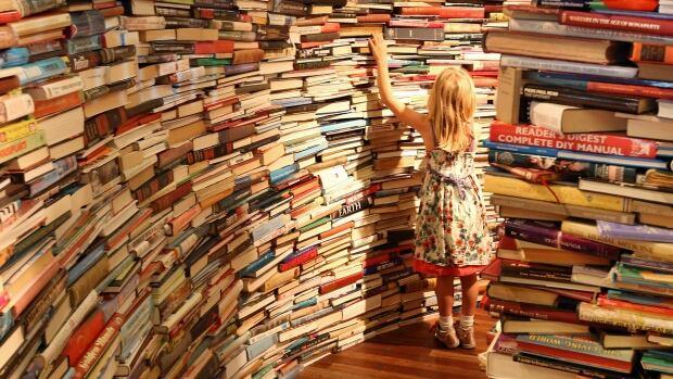 Child in a bookstore