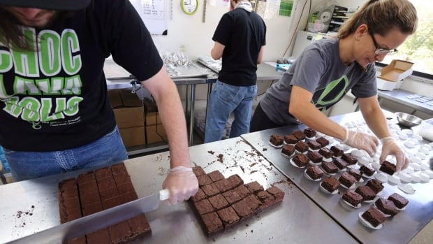 Pot-infused brownies are divided and packaged at The Growing Kitchen, in Boulder, Colo. in September 2014. The Supreme Court of Canada on Thursday said medical marijuana can include products other than dried pot, such as cannabis-infused cookies brownies, oils and tea.