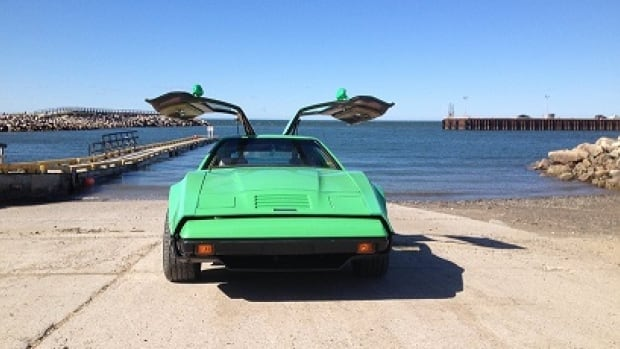 This neon green 1975 model Bricklin is still on the road.