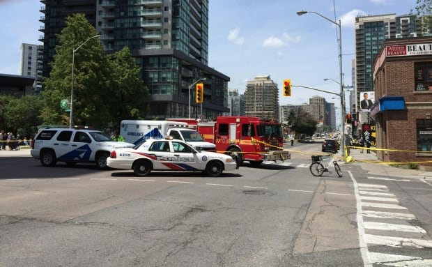 Pedestrians were struck by a car on Thursday afternoon at Yonge and Empress.