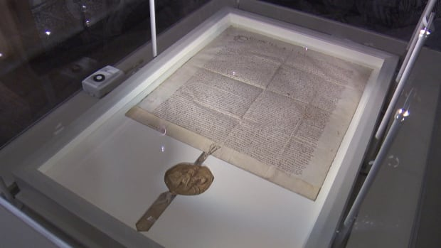 The 1300 copy of the Magna Carta is on display at the Canadian Museum of History from Friday until July 26.