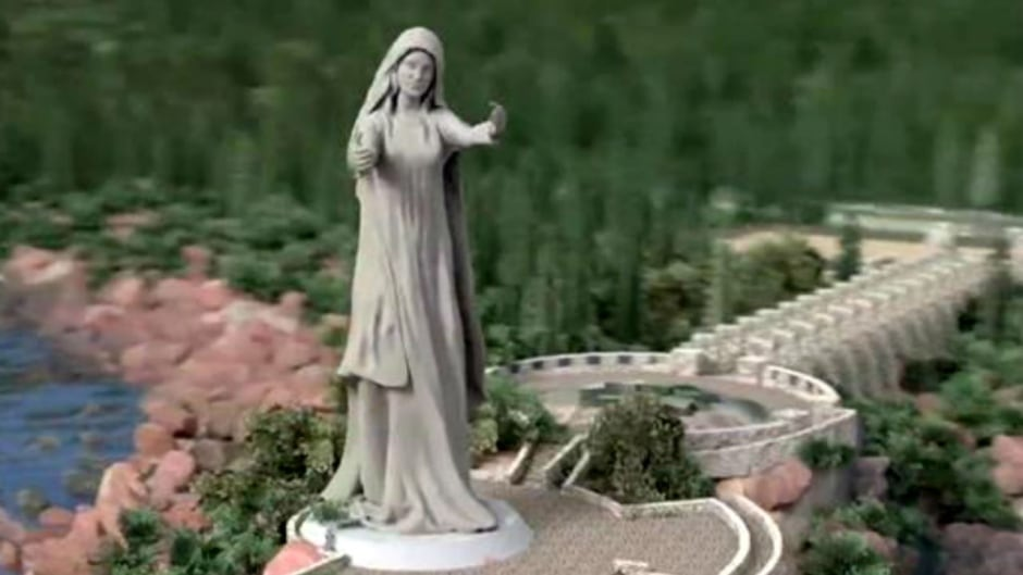 The Never Forgotten National Memorial Foundation wants to build a $25 million statue to Canada's war dead that would be 24 metres high and feature a woman with her arms outstretched toward Europe.