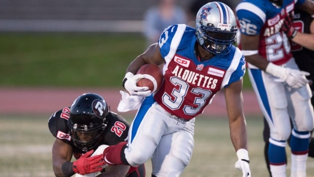 Montreal Alouettes running back Brandon Rutley scored a touchdown in a 26-9 victory over the Ottawa Redblacks.