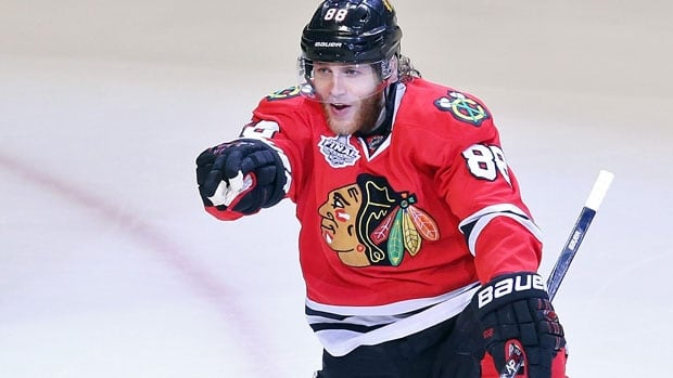 Patrick Kane and the Chicago Blackhawks celebrate their Stanley Cup win.