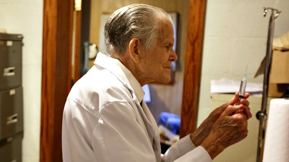 Dr. Bryon Harbolt, 92, practices medicine in a rural clinic he opened in 1960, in Altamont, TN. The American Medical Association is debating how old is too old to practice medicine.