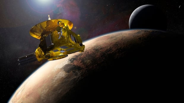 An artist's impression of NASA's New Horizons spacecraft encountering Pluto and its largest moon, Charon, is seen in this NASA image from July 2015.