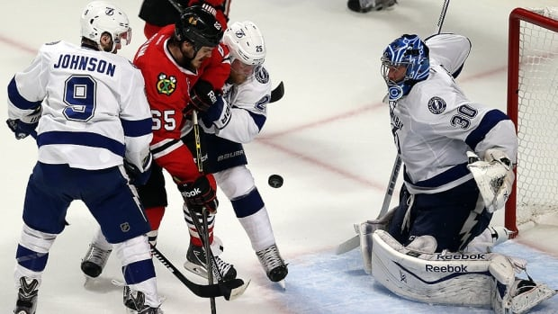 It was revealed after the Lightning lost the Stanley Cup to Chicago in six games that goaltender Ben Bishop, right, and forward Tyler Johnson played through a painful right groin tear and broken right wrist, respectively. Bishop suffered his injury in Game 3 while Johnson was hurt in the series opener.