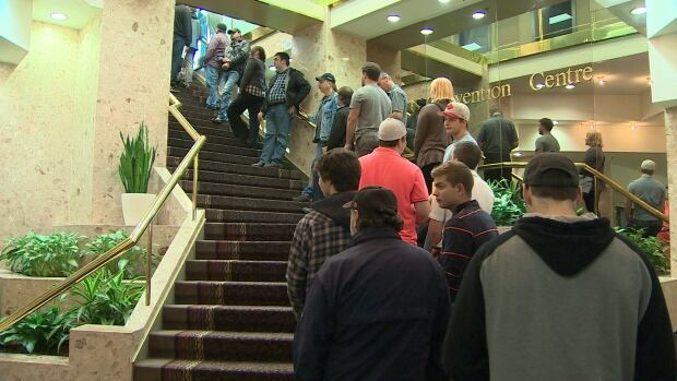 Hundreds of Maritimers waited in line at the Holiday Inn in Dartmouth on Tuesday to apply for 200 available positions with Irving Shipbuilding.