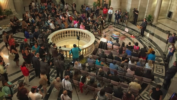 Over 100 survivors, First Nations and members of the public gathered at the Manitoba Legislature on June 18, 2015, to hear the provincial government's apology for the Sixties Scoop.