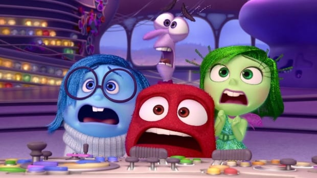 This scene shows some of the characters of Inside Out, including clockwise from left: Sadness (voiced by Phyllis Smith), Fear (voiced by Bill Hader), Disgust (voiced by Mindy Kaling) and Anger (voiced by Lewis Black).