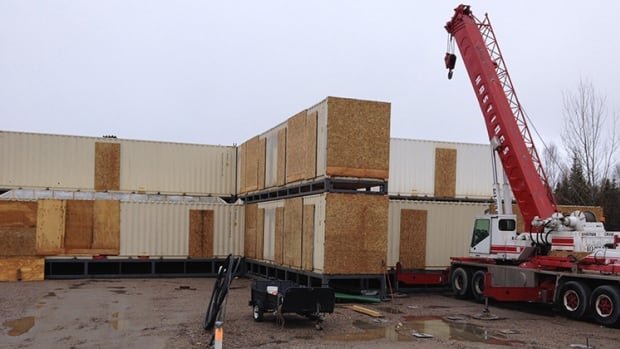 Construction begins on a shipping container hotel in Sioux Lookout, Ont.