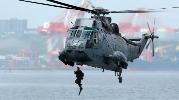 A Canadian soldier jumps into Halifax harbour from a Sea King helicopter as he participates in advanced amphibious training from the Shearwater jetty in Halifax in this file photo.