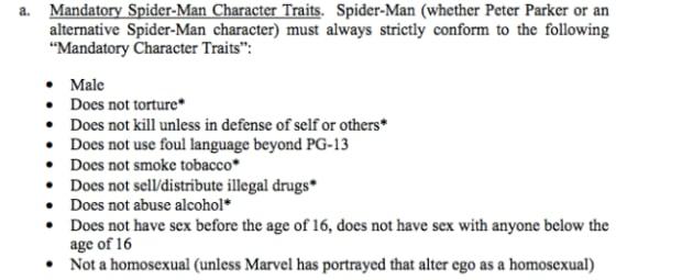 mandatory spider-man character traits