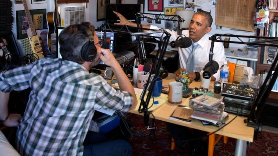 In the political podcasting moment of the year, U.S. President Obama spoke with podcaster and comedian Marc Maron in Maron's crowded garage.