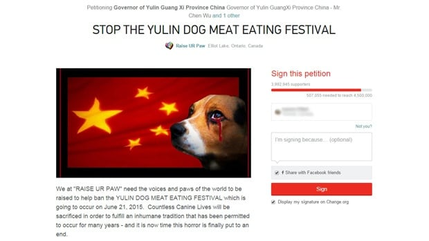 Yulin Dog Meat Petition 2015