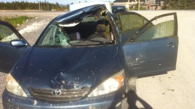 Stephen Bromley drove about 20 kilometres in this car after he struck a moose, but says he remembers nothing about the collision.