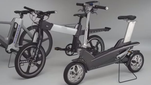 This photo, taken from a YouTube video posted by Ford, shows the company's newest e-bike design, which comes with enhanced safety features and a 'no sweat' mode.