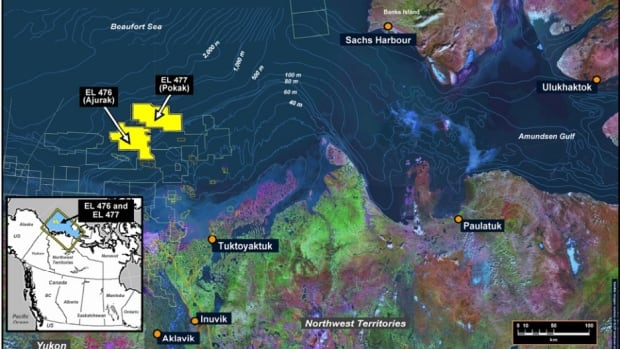This map shows where Imperial Oil and BP had planned to drill for oil by 2020. Imperial Oil holds an exploration licence for the yellow parcel on the left; BP holds the licence for the yellow parcel on the right.