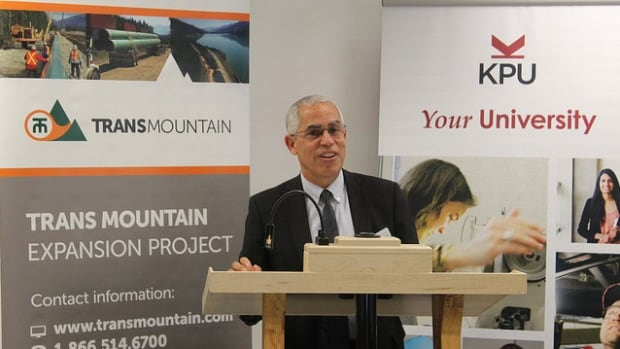Salvador Ferreras, Academic Vice-President and Provost of Kwantlen Polytechnic University, announces the donation agreement with Kinder Morgan.