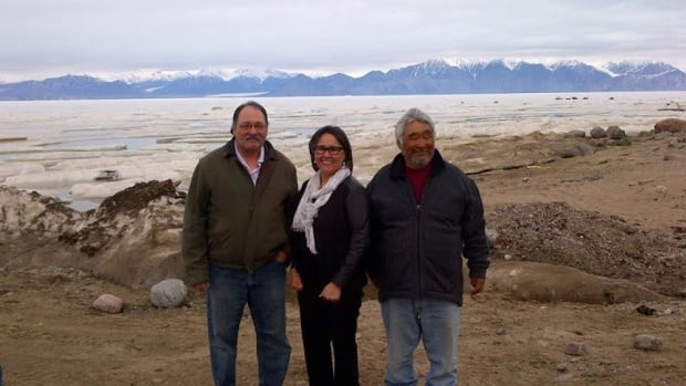 Tununiq MLA Joe Enook, Nunavut MP Leona Aglukkaq, and Pond Inlet Mayor Charlie Inuarak announced a new, $40 million harbour for Pond Inlet Friday.