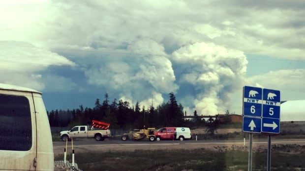 Smoke from a forest fire is visible from the junction of N.W.T. highways 5 and 6 Friday afternoon. Highway 6 to Fort Resolution has been closed due to the fire.