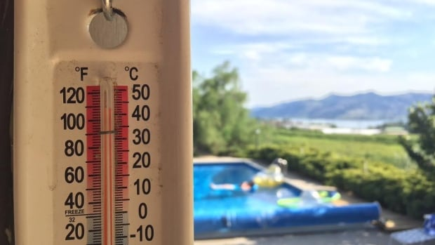 A thermometer in the shade registered more than 42 C in Osoyoos, B.C., on Saturday, though the official record-breaking temperature was 40.4 C.