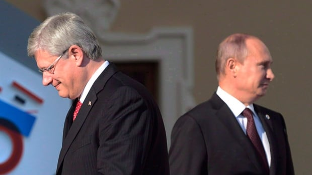 "Canadian Prime Minister Stephen Harper walks past Russian President Vladimir Putin at the G20 Summit in 2013 in St. Petersburg, Russia. Russian diplomats in Canada blast the latest round of sanctions as a ""sad déjà-vu."""