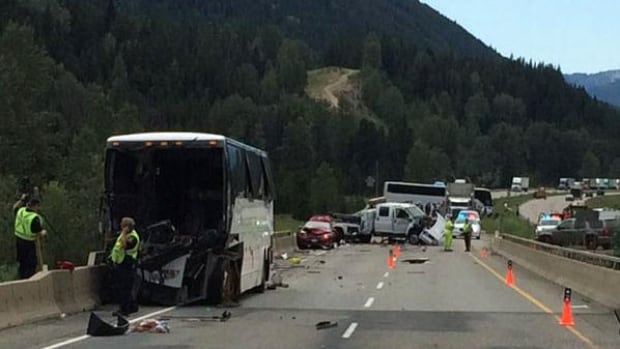 This June 27 tour bus crash on the Coquihalla Highway sparked a provincial review of motor coach safety announced Thursday by Transportation Minister Todd Stone.